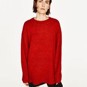 Zara Red Mohair Knit Oversized Crewneck Sweater
